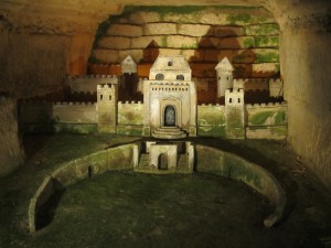 Carving of a castle in the Catacombs