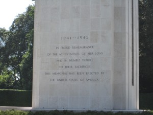 Inscription on the WWII memorial at the cemetery